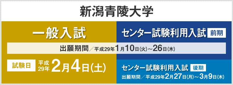 新潟青陵大学:一般入試、センター試験利用入試の詳細はこちら